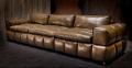 прямой кожаный коричневый диван Марчелло