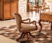 Кресло Белмонт вращающееся (Массив дерева, кожа, ткань)