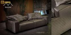 элитный прямой диван натуральная кожа