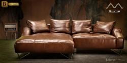 коричневый кожаный угловой диван Москва