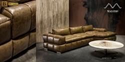кожаный диван с шезлонгом Марчелло