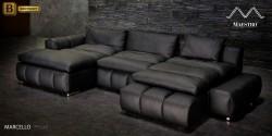 черный модульный п-образный диван Марчелло натуральная кожа