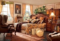 классическая спальня Феникс F изголовье резное массив дерева, натуральная кожа