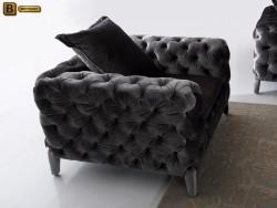 Кресло Скиллачи стиль Арт-Деко велюр серый бархат капитоне