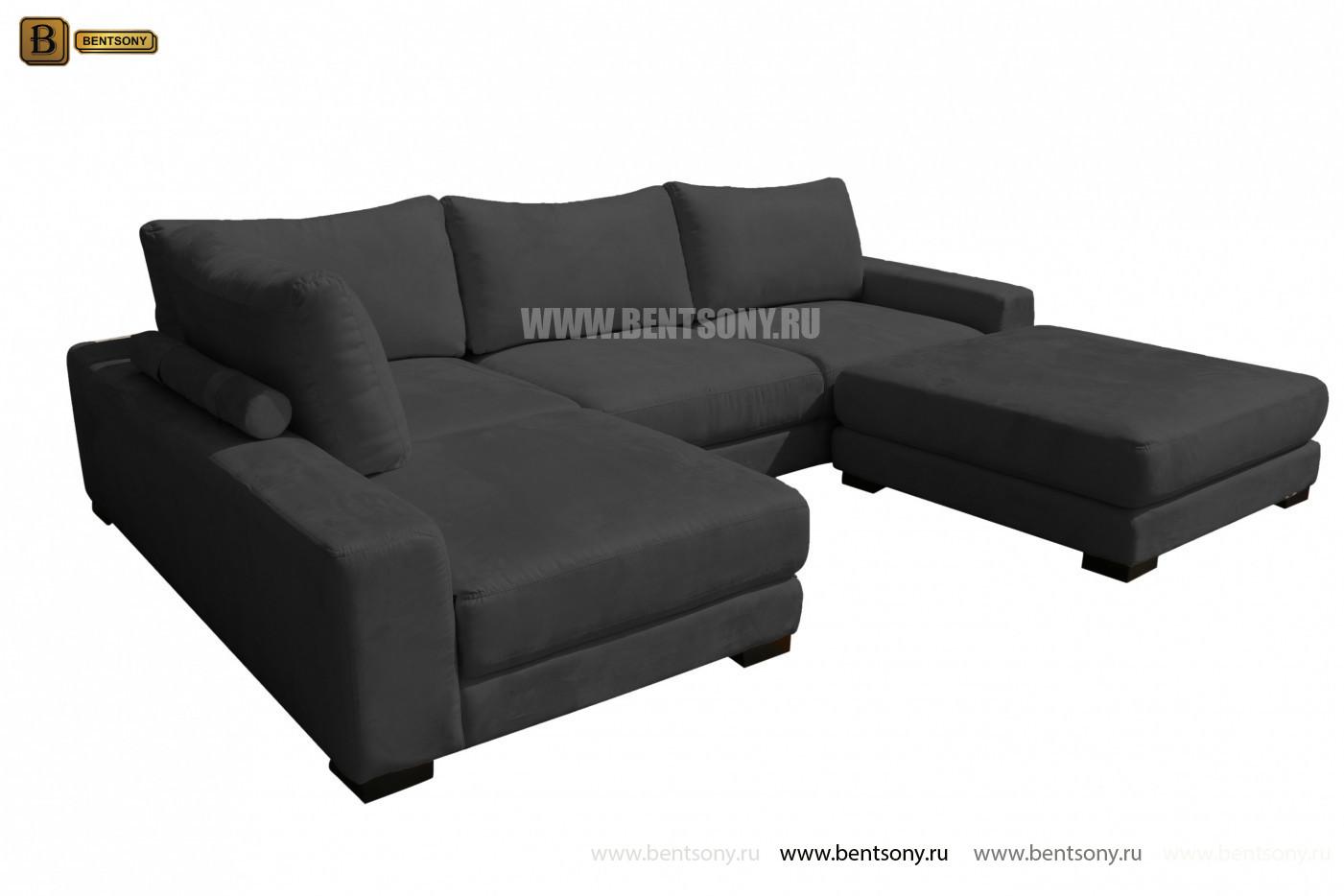 Большой модульный диван Луиджи черный