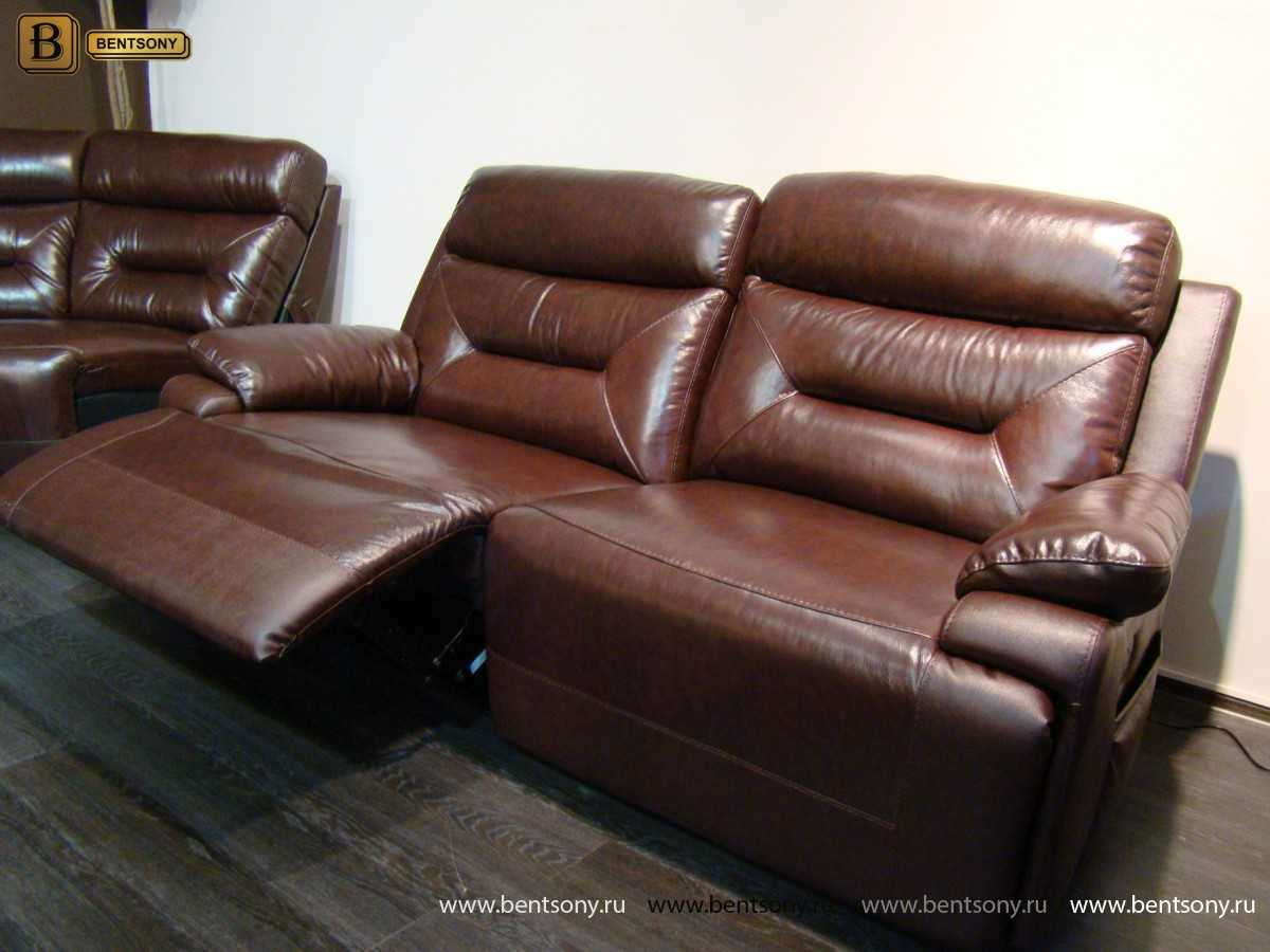 прямой кожаный диван Амелия