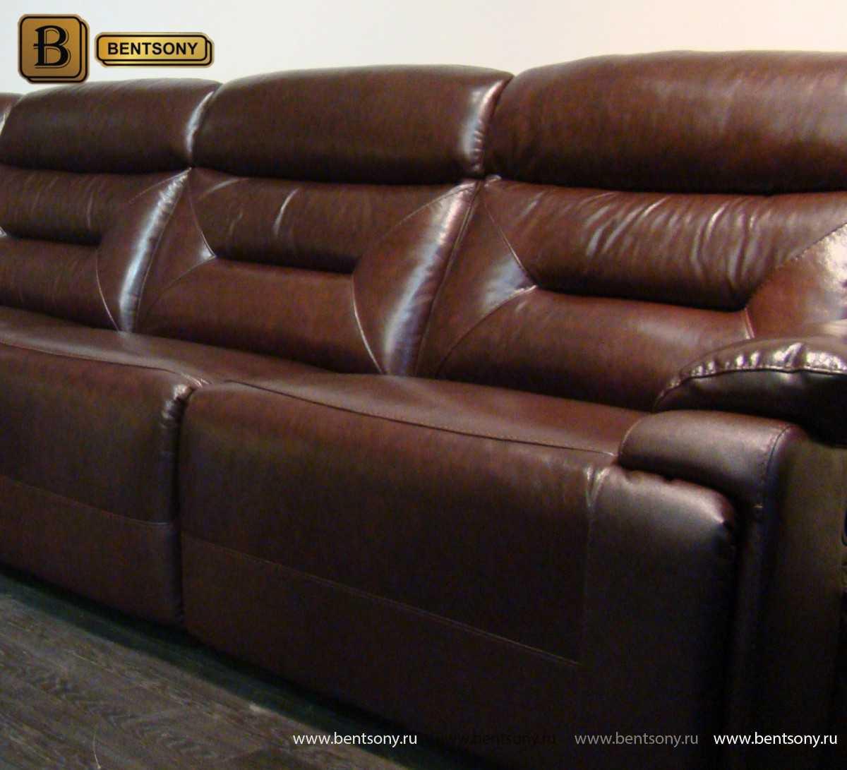 Коричневый кожаный диван Амелия