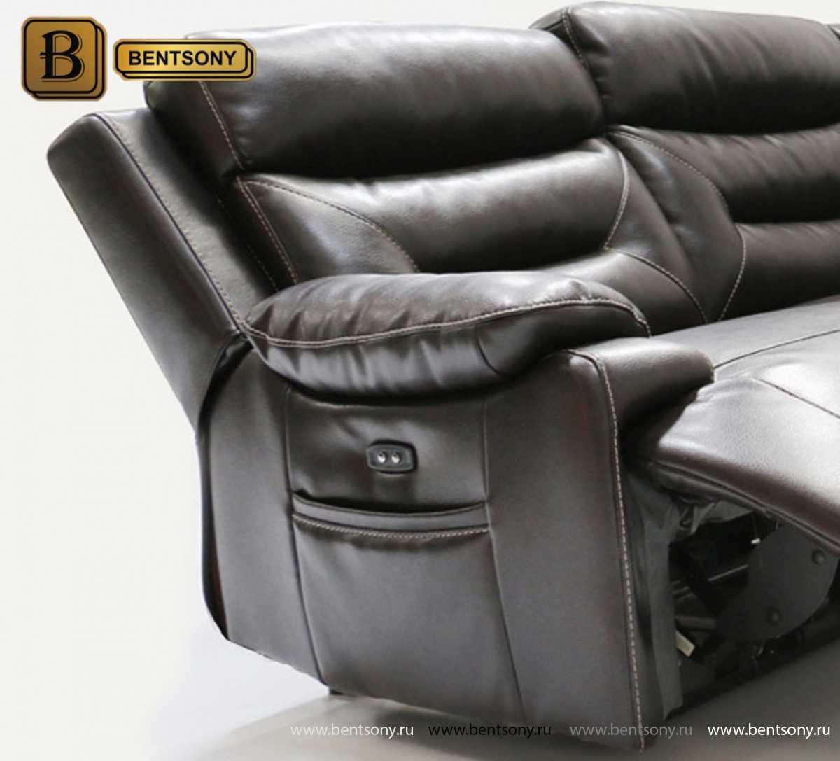 диван реклайнер с электроприводом черный Амелия
