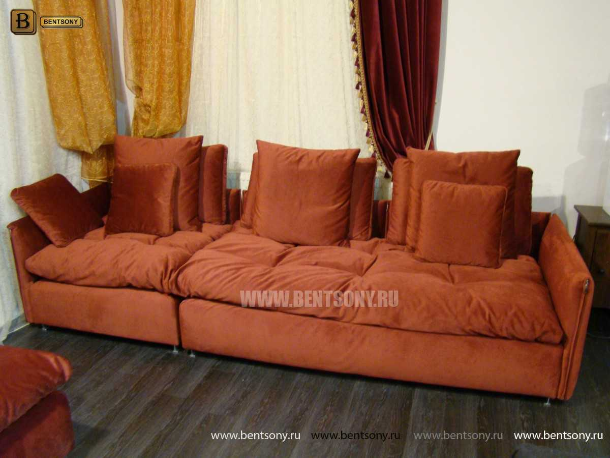 стильный прямой диван Арлетто красный