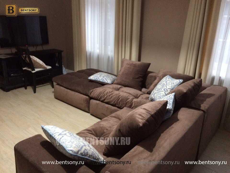 Большой кориченевый угловой модульный диван Бениамино