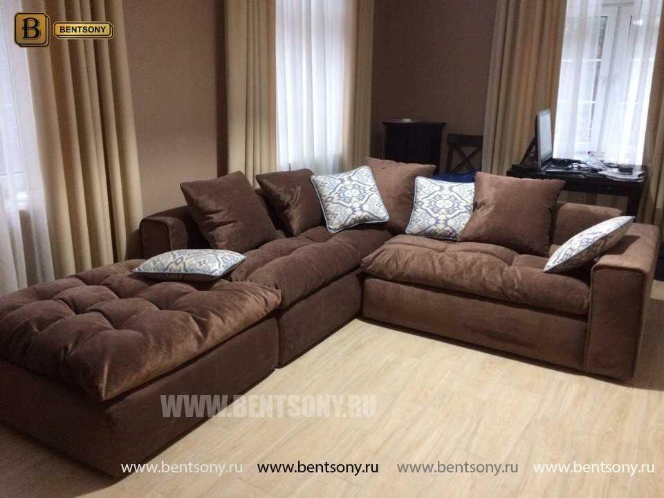 угловые коричневые диваны Бениамино фото в интерьере