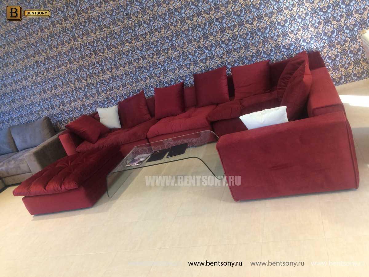 Супер Мягкий Диван Бениамино Красный тканевый модульный угловой фото Каталог