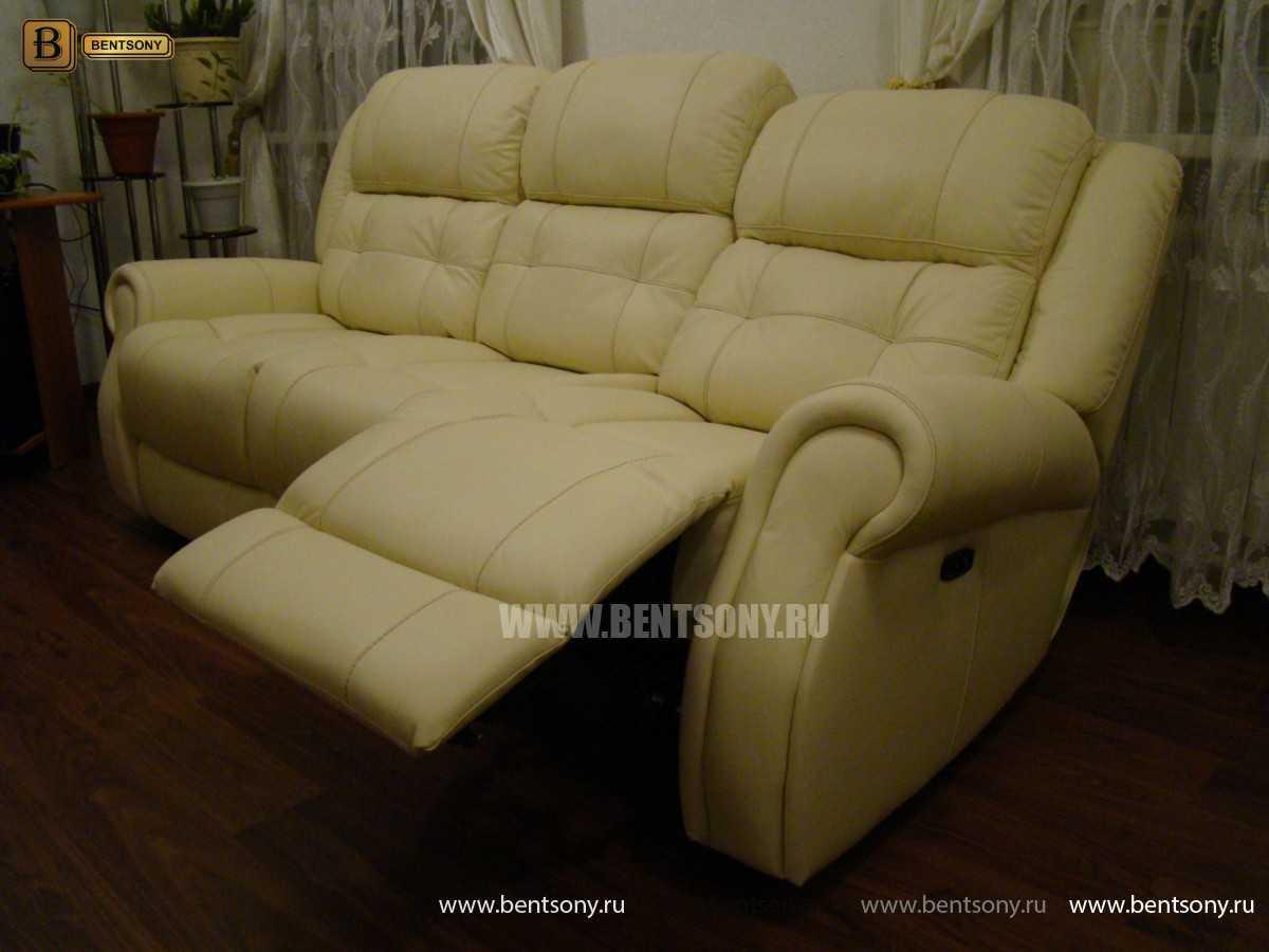 прямой кожаный диван Локсли с реклайнером купить