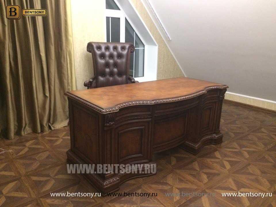 Письменный стол Монтана большой для кабинета (классика, массив дерева) каталог с ценами