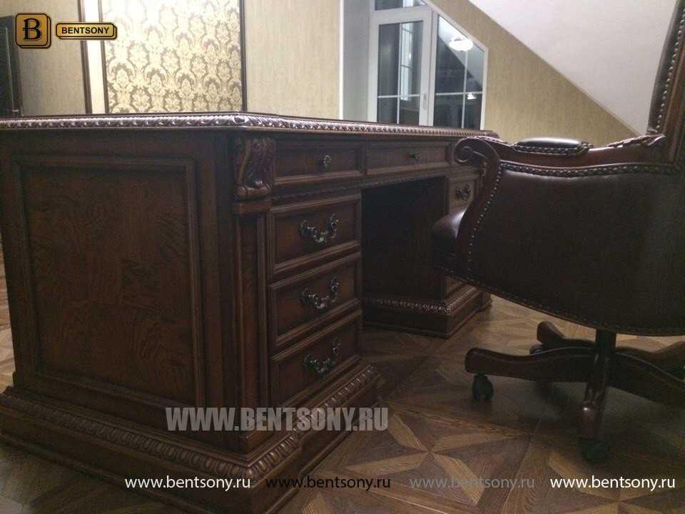 Письменный стол Монтана большой для кабинета (классика, массив дерева) каталог