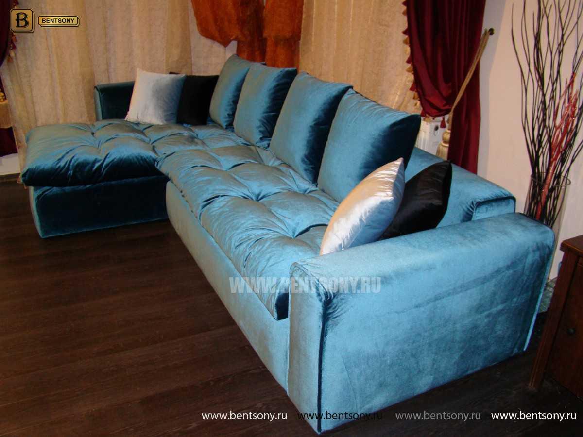 Синий угловой мягкий большой модульный диван Бениамино