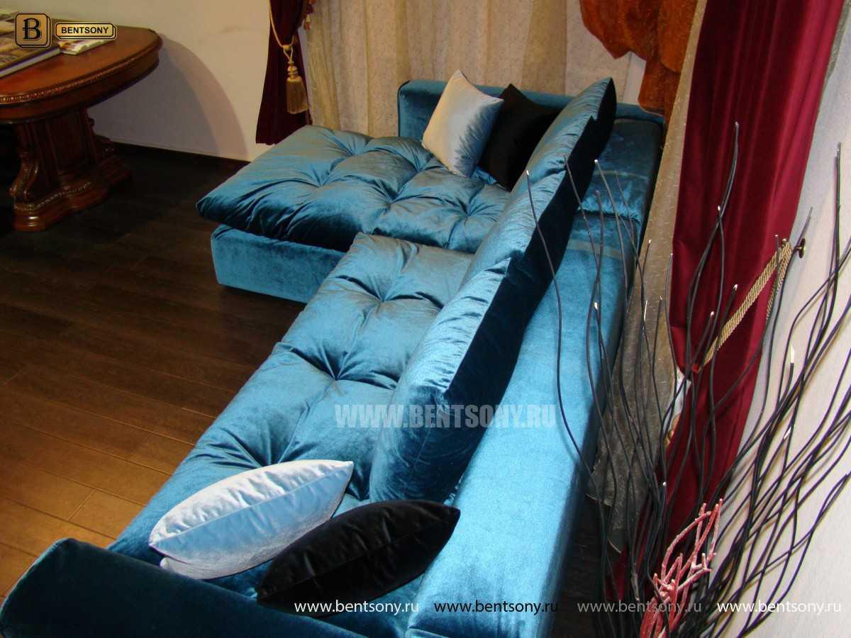 Синий угловой мягкий большой модульный диван Бениамино от Бенцони