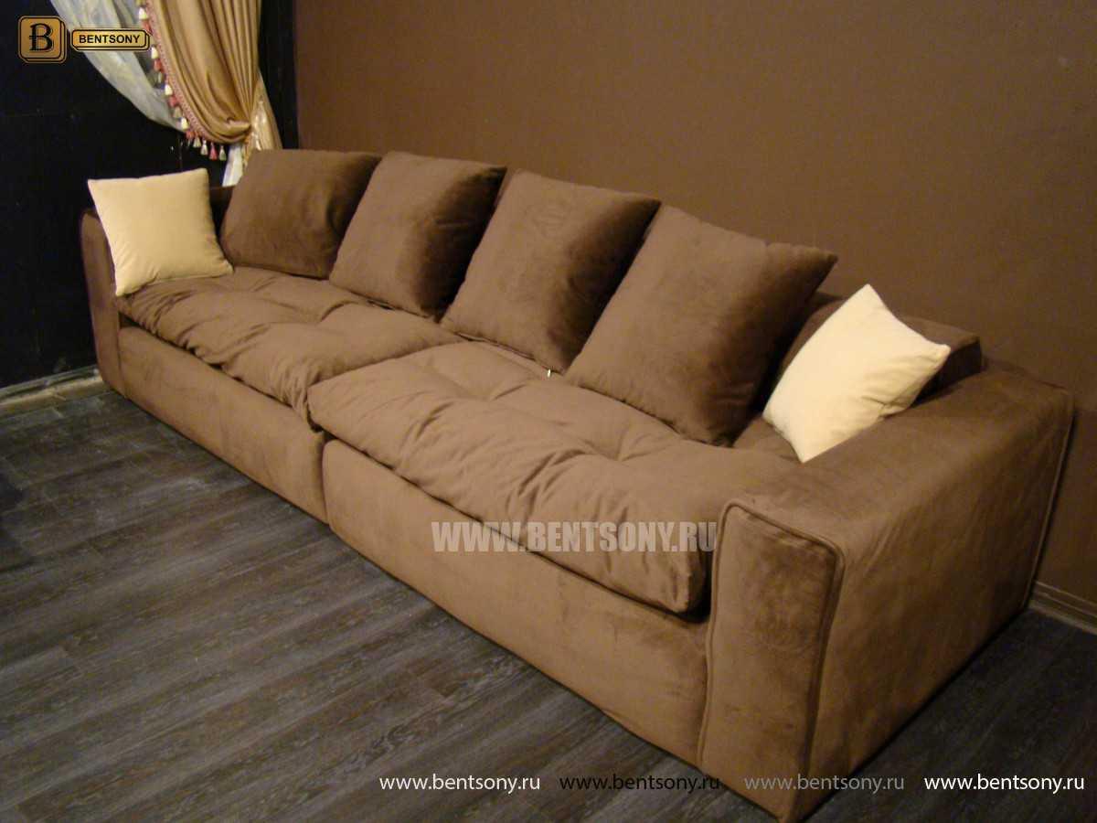 коричневый прямой тканевый диван купить