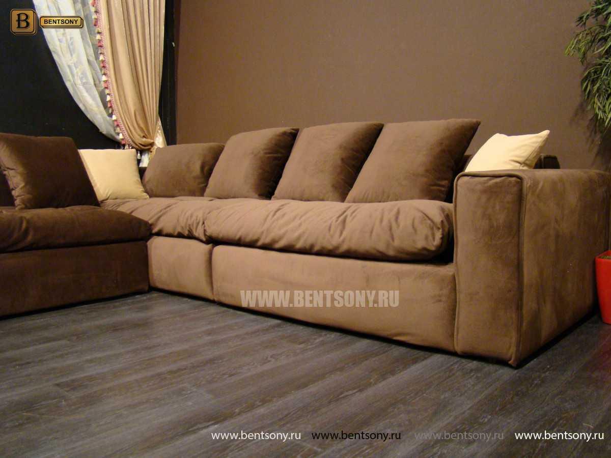 диван Бениамино в коричневом цвете угловой
