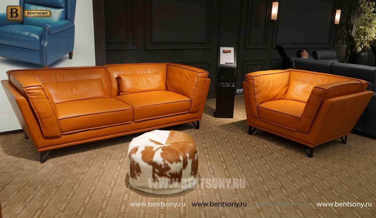 Диван Бергамо (Прямой, VIP Кожа)  каталог мебели с ценами