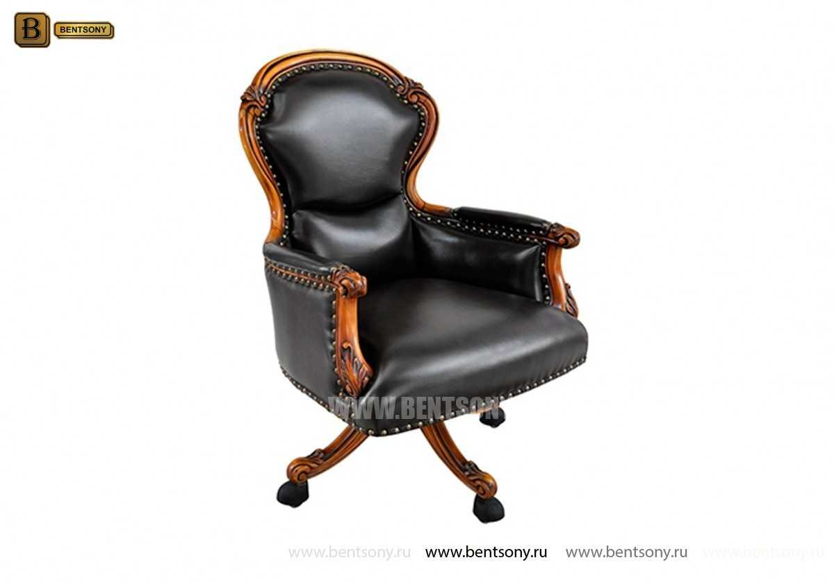 Кресло Кабинетное Дакота В (Натуральная кожа, колесики) купить в Москве