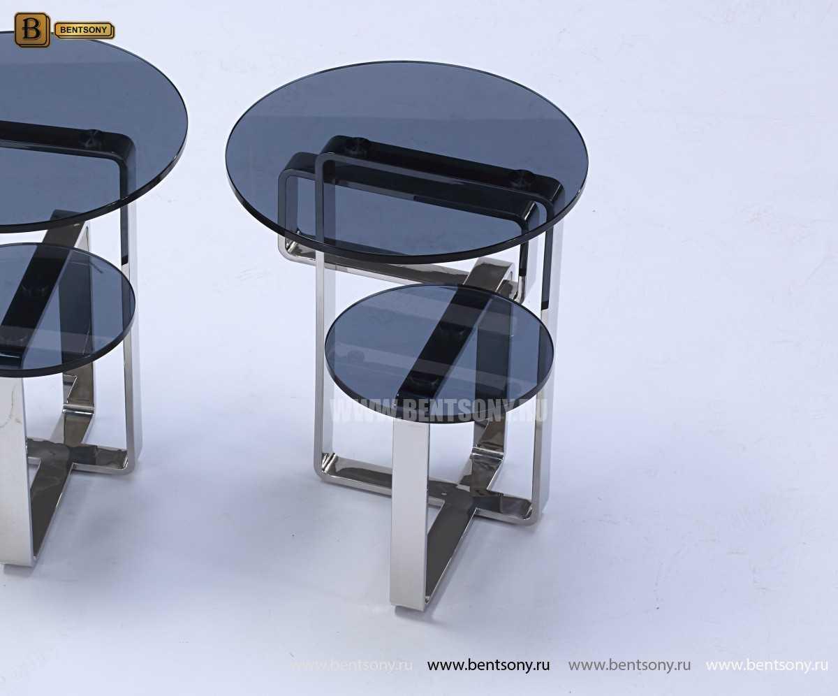 Стол Журнальный Приставной (Круглый, тонированное стекло) для квартиры