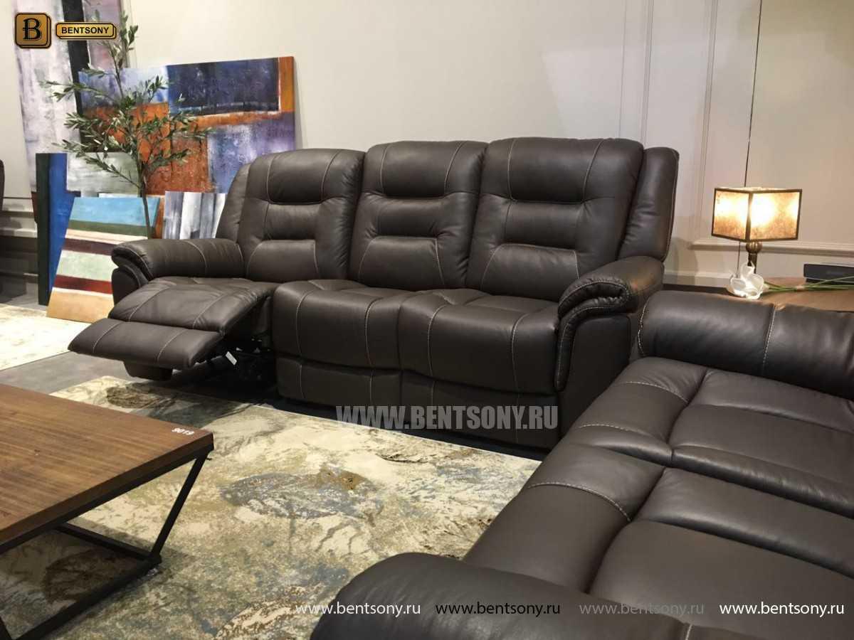 Диван Ачендо (Прямой, Реклайнеры, Натуральная Кожа) каталог мебели с ценами