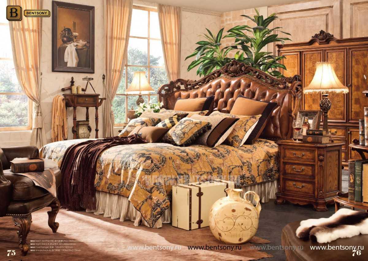 Кровать Феникс F (Классика, Натуральная Кожа) для квартиры