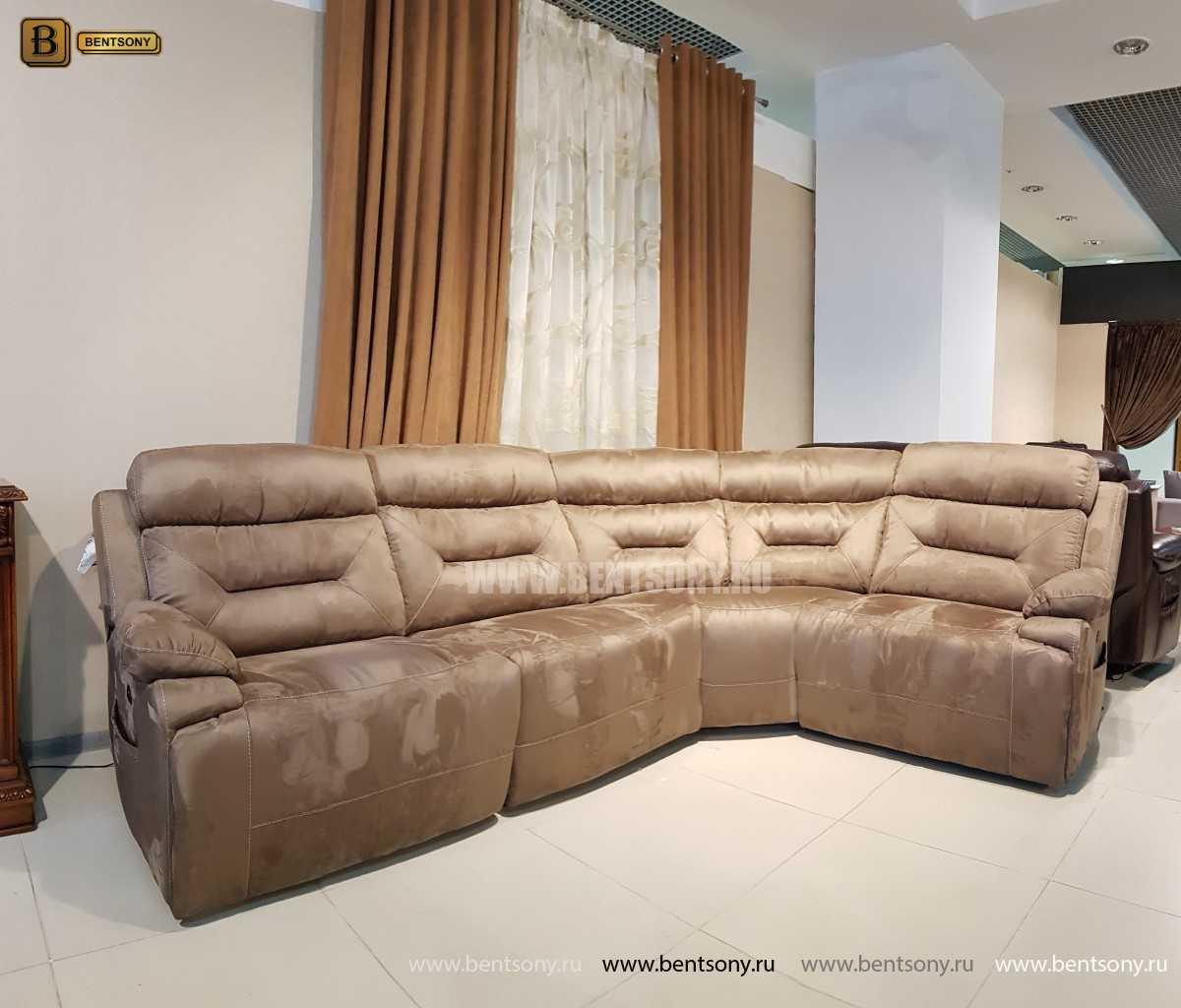 Диван Амелия (Угловой, Реклайнеры, Алькантара) каталог мебели с ценами