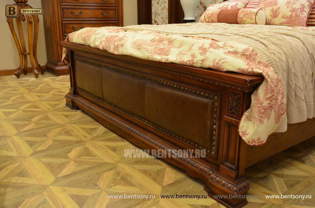 Кровать Монтана B (Классика, массив дерева, кожа) каталог мебели с ценами