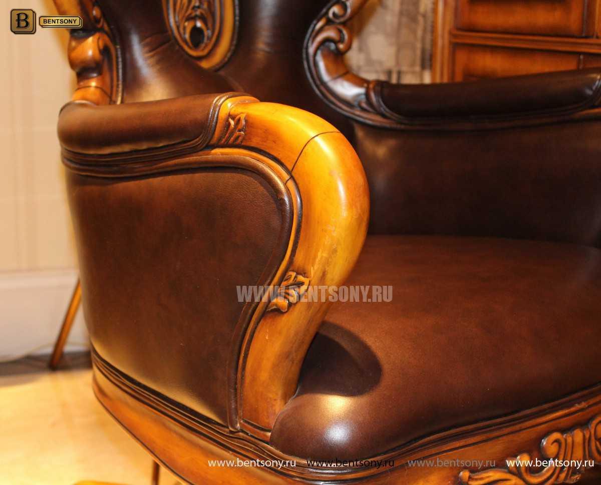 Кресло Кабинетное Дакота А (Классика, натуральная кожа) для загородного дома