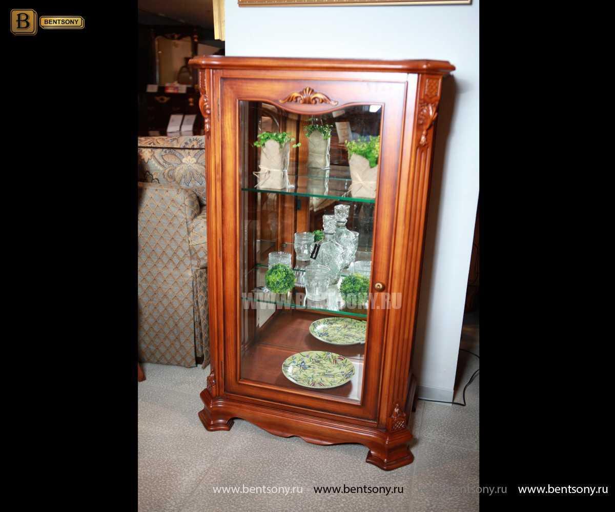 Витрина Феникс для предметов декора (Классика, массив дерева) купить в СПб