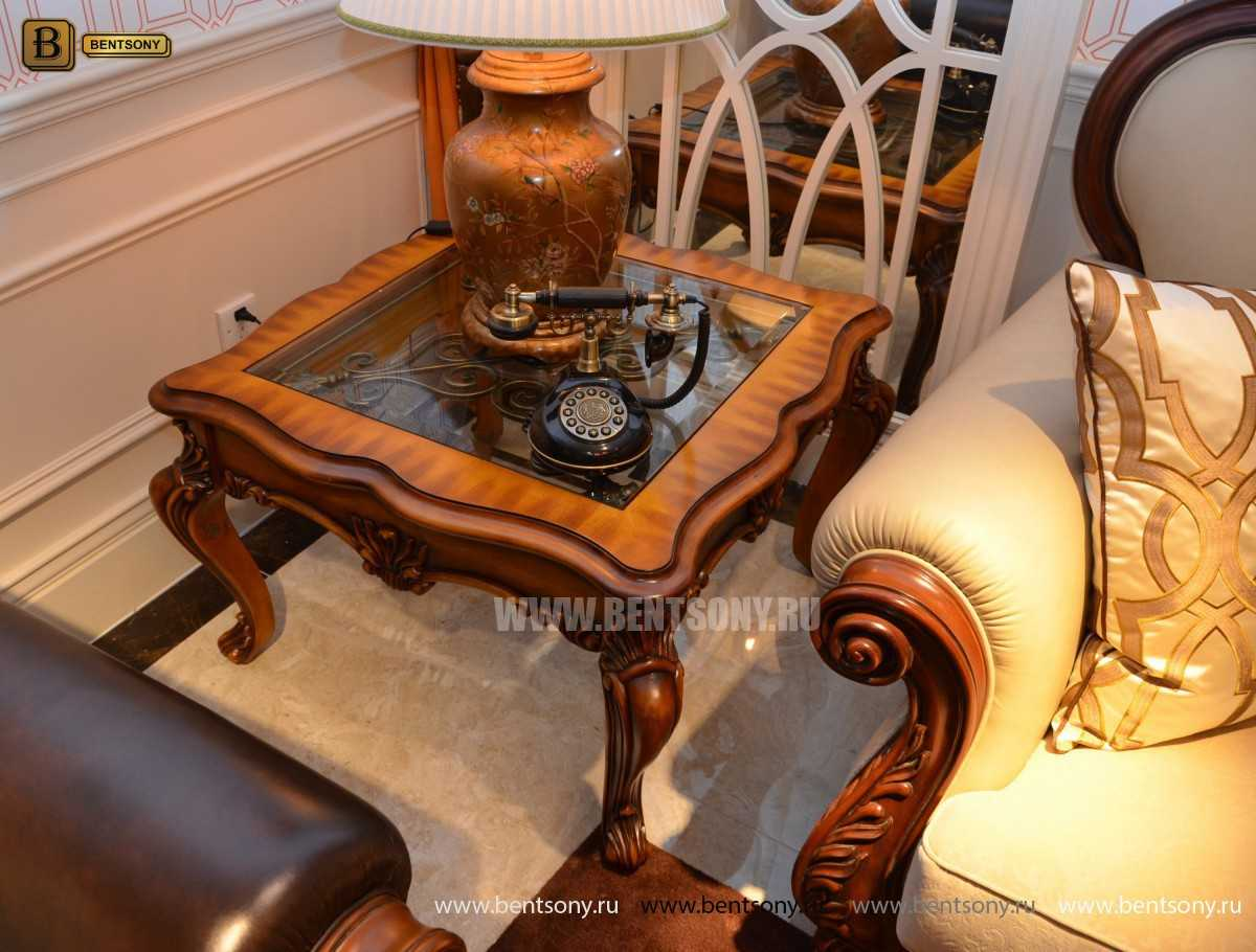 Стол Журнальный Чайный Дакота А (Массив дерева, стекло) для дома