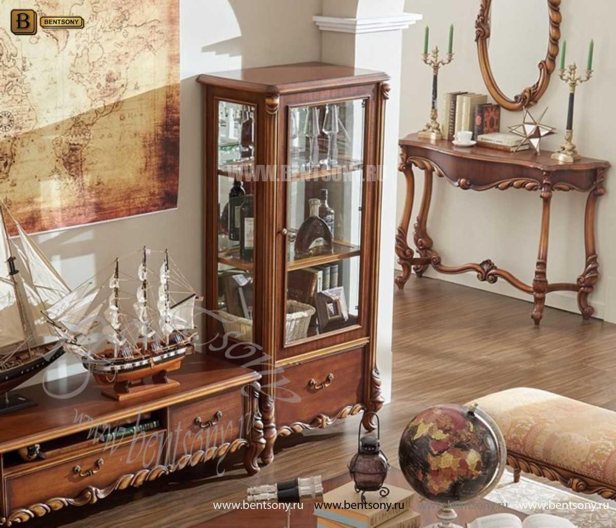 Витрина Лоренс высокая для предметов декора (Классика, массив дерева) цена