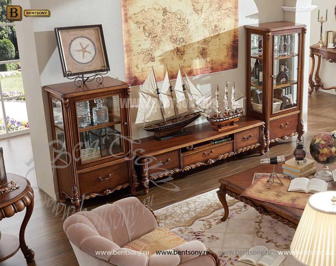 Широкая Витрина Лоренс для предметов декора (Классика, массив дерева) купить в СПб