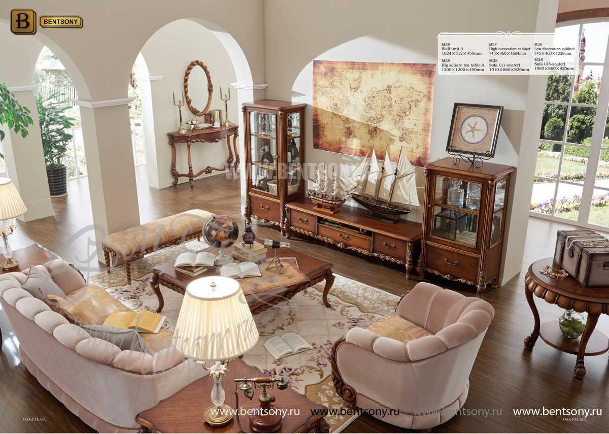 Широкая Витрина Лоренс для предметов декора (Классика, массив дерева) каталог мебели с ценами