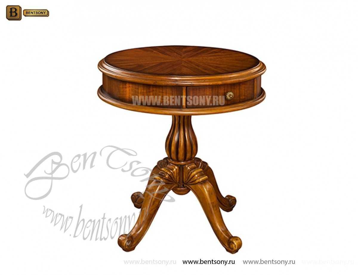 Стол чайный круглый Лоренс (деревяная  столешница) для загородного дома