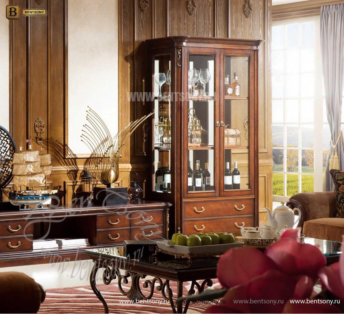 Витрина 2-х дверная Крофорд (Классика, массив дерева) для квартиры