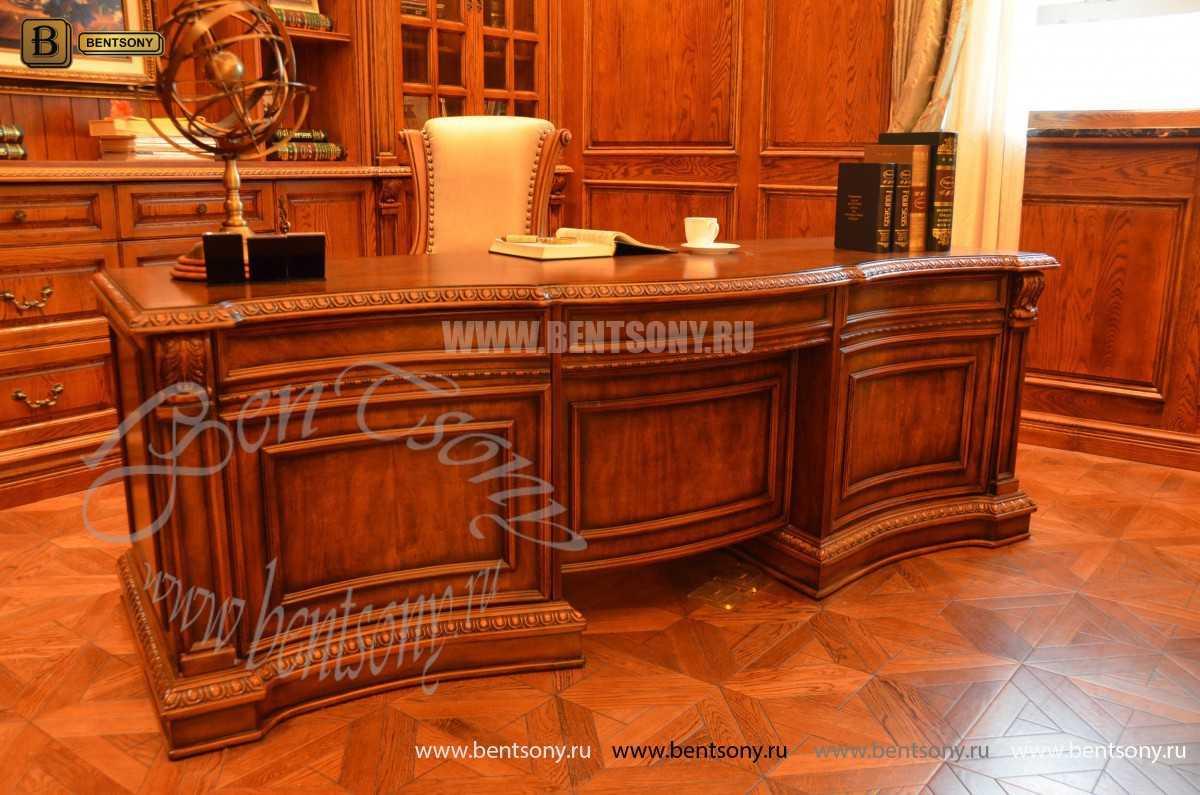 Письменный стол Монтана большой для кабинета (классика, массив дерева) интернет магазин