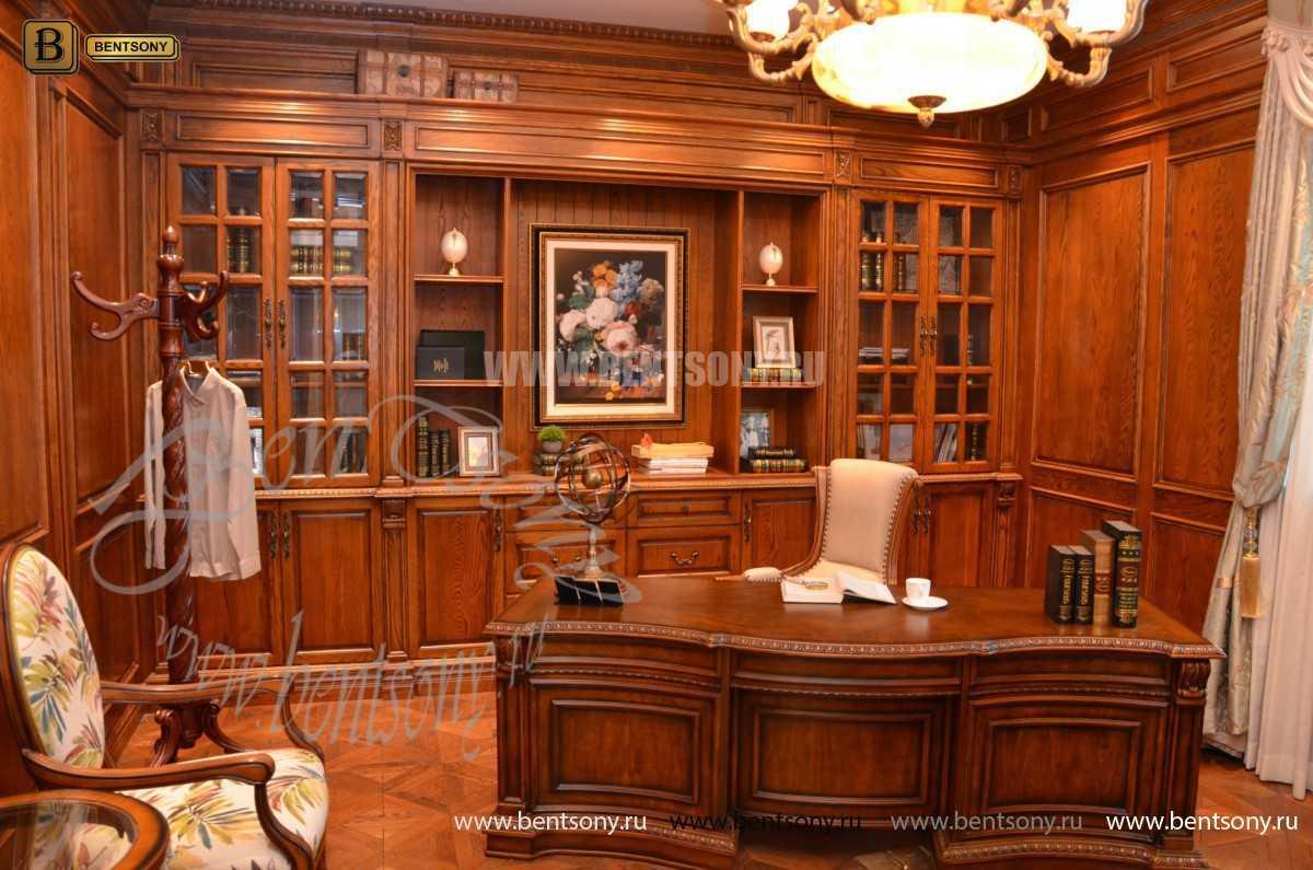 Письменный стол Монтана большой для кабинета (классика, массив дерева) для квартиры