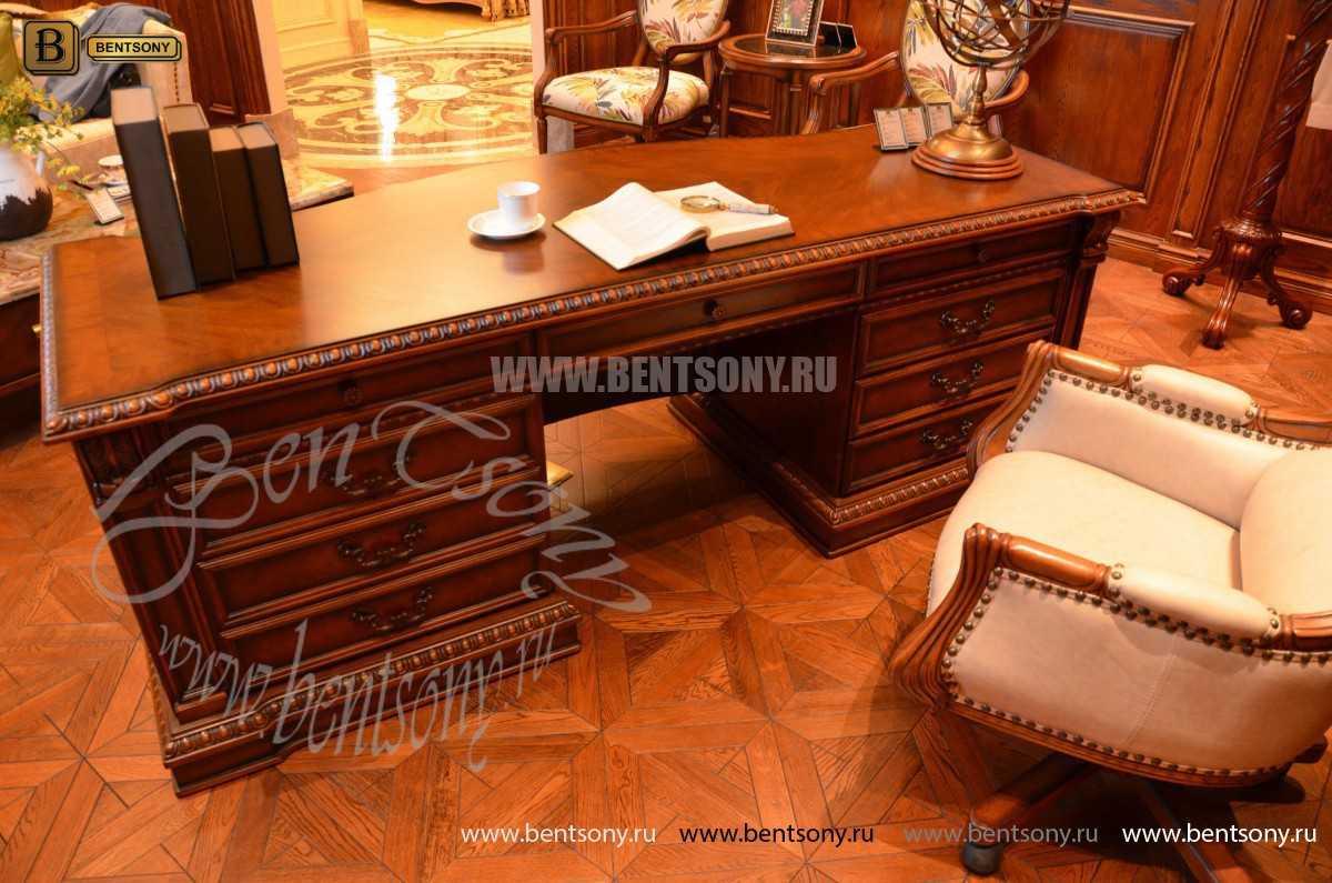 Письменный стол Монтана большой для кабинета (классика, массив дерева) фото