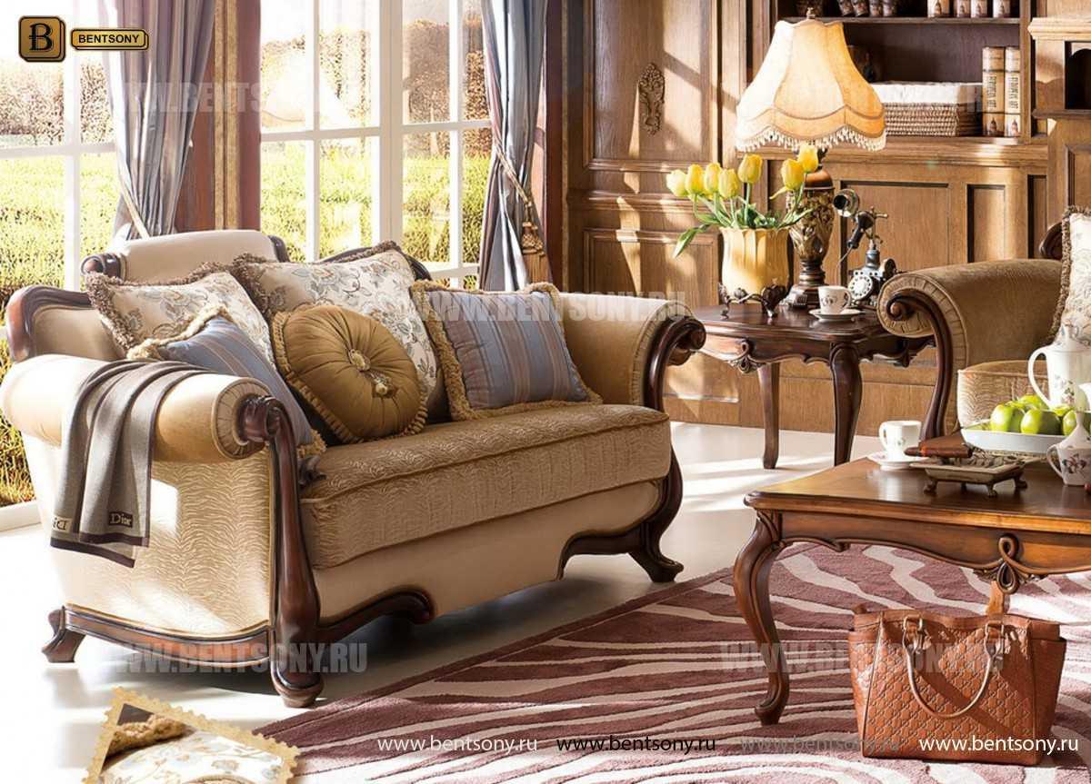 Гостиная Крофорд В (Классика, Ткань, массив дерева) для квартиры