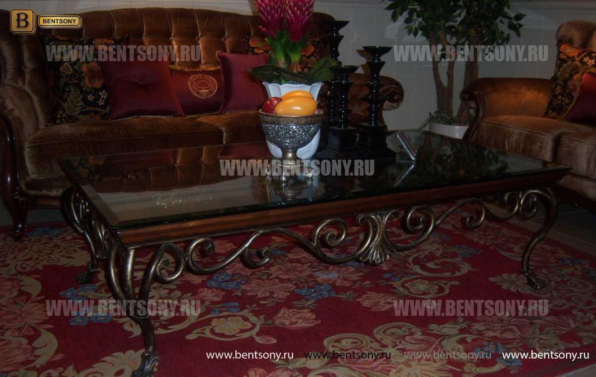 Стол Журнальный Прямоугольный Крофорд А (Массив дерева, столешница стекло) распродажа