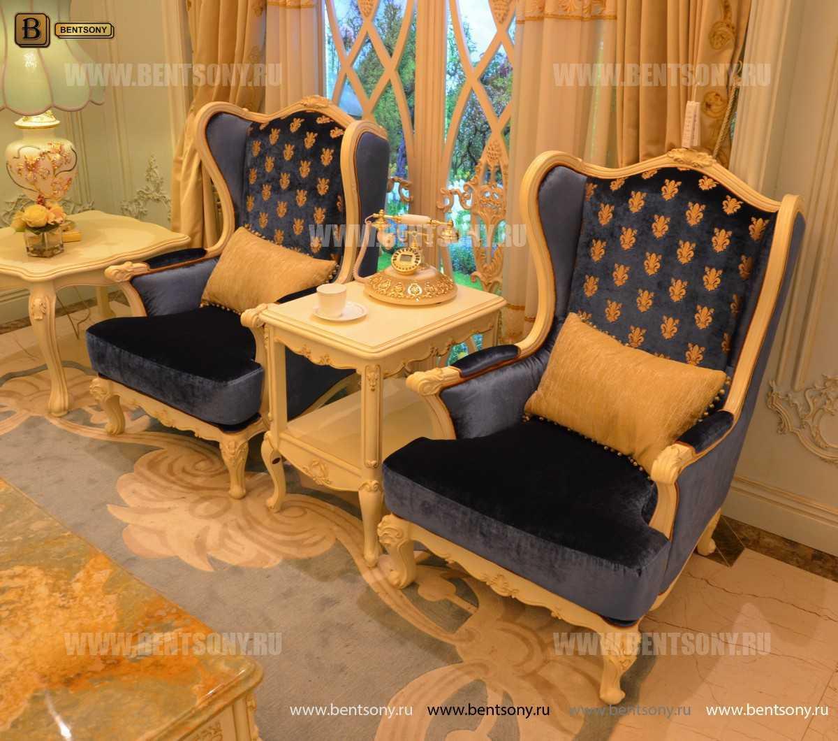 Кресло для отдыха Митчел с подушкой, Пуф (Классика, Ткань) изображение