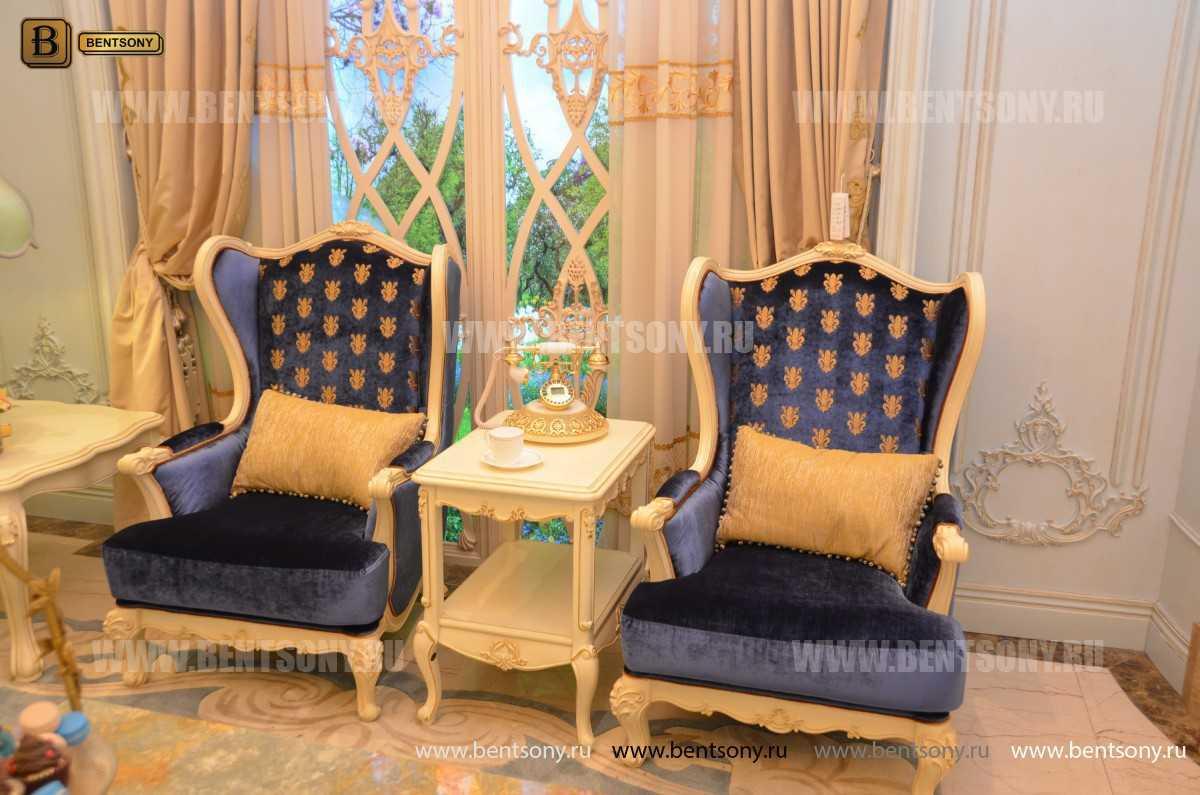 Кресло для отдыха Митчел с подушкой, Пуф (Классика, Ткань) фото