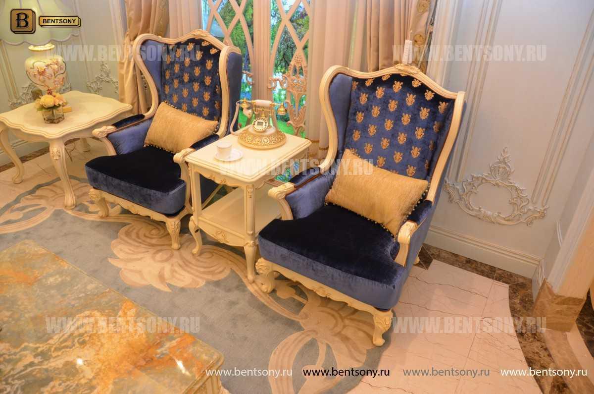 Кресло для отдыха Митчел с подушкой, Пуф (Классика, Ткань) для дома
