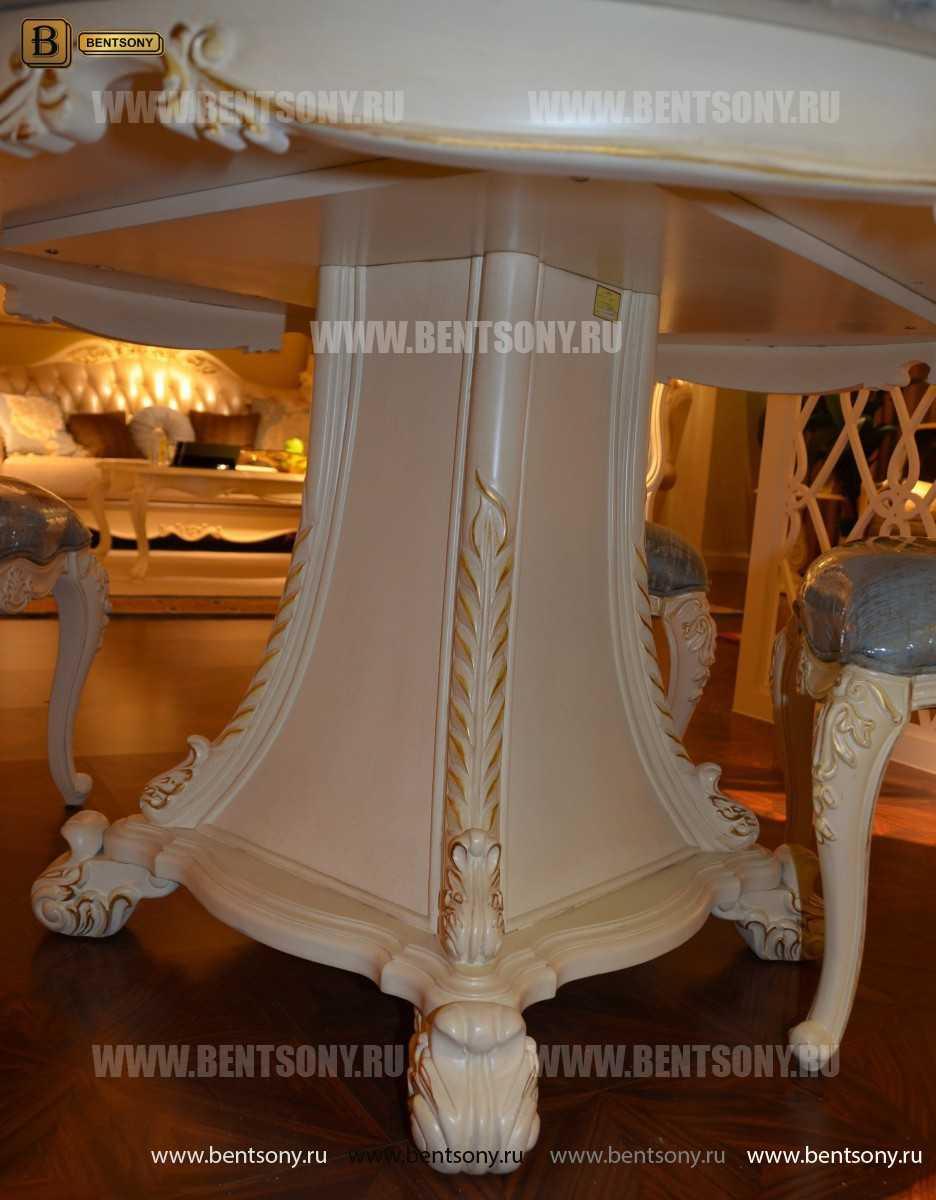 Стол обеденный круглый Митчел (Классика, мраморная столешница) в интерьере