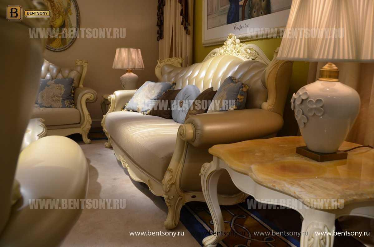 Гостиная Митчел D (Классика, Ткань, Натуральная кожа) в интерьере