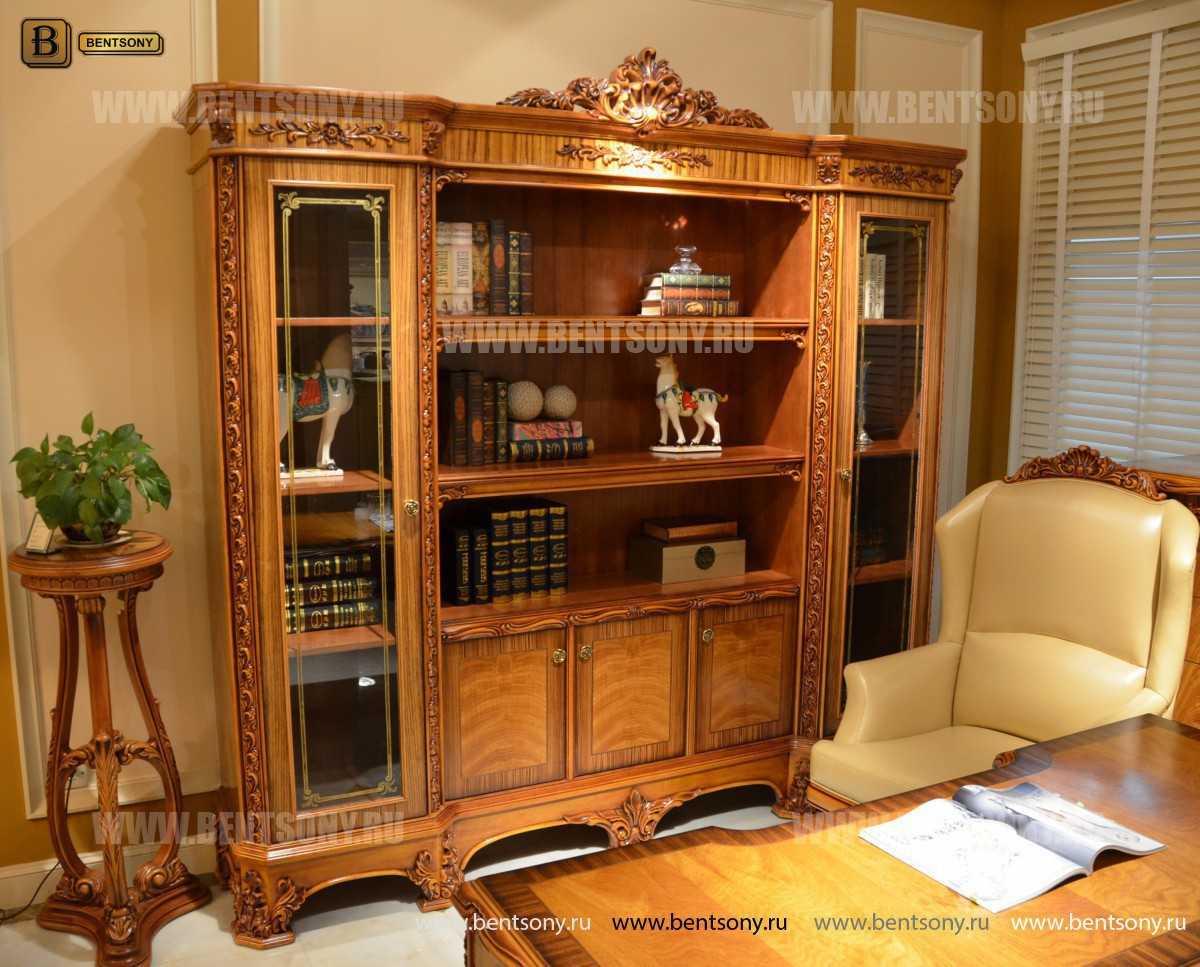 Шкаф Книжный Белмонт (Классика, массив дерева) в интерьере