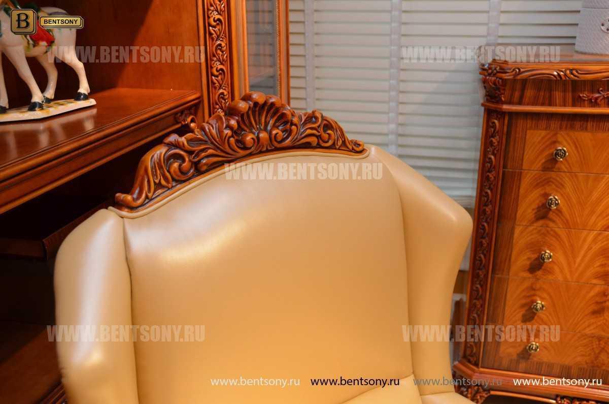 Кресло кабинетное Белмонт (Массив дерева, Кожа комбинированная) магазин Москва